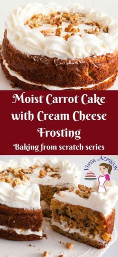 MOIST CARROT CAKE WITH CREAM CHEESE FROSTING This moist carrot cake is my simple, easy and effortless one bowl recipe that you will enjoy making over and over again. It taste delicious on it's own but can be dressed with my luscious cream cheese frosting to create an exotic dessert. via veenaazmanov.com #carrot #cake #recipe #moist #best #frosting #bakingfromscratch #carrotcake #recipes #easy #baking #veenaazmanov