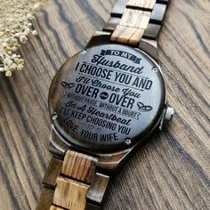 Perfect Gifts For Husband Engraved Wooden Watch Great Gifts For Boyfriend, Gifts For Fiance, Gifts For Him, Love Gifts, Best Gifts, Diy Gifts, Leather Notebook, Wooden Watch, Beautiful Watches