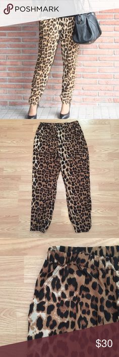 Leopard pants. Adorable leopard pants. Super comfy with pockets and elastic at the bottom.  Such fun pants! olivaceous Pants