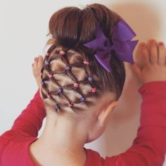 High bun + elastics. Usually the first to go with a high bun are those shorter hairs in back. This makes the hairstyle last longer #pinsinmypocket #toddlerhair #toddlerhairstyles #littlegirlhairstyles #braidsforlittlegirls