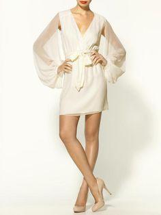 Cape Sleeve Silk Wrap Dress - Lyst