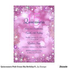 Shop Quinceanera Pink Ocean Sky Birthday Party Invitation created by Zizzago. Bachelorette Party Invitations, Quinceanera Invitations, Birthday Party Invitations, Invitation Paper, Custom Invitations, Invitation Ideas, Sweet 16 Birthday, 15th Birthday, Corporate Invitation