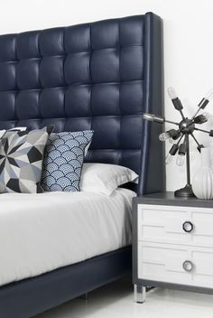 st tropez bed in navy faux leather
