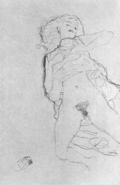 Nude lying on her back by Gustav Klimt 1912