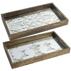Set of 2 Mirrored Gold Tray - Small & Large.
