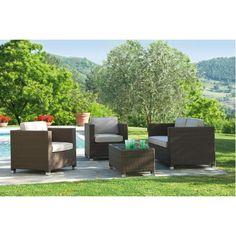 Gruppe Match, Geflecht Espresso bestehend aus: zwei Sessel, ein Sofa jeweils mit Sitz- und Rückenkissen ecru, ein Beistelltisch mit Klarglasplatte Gestell Aluminium, Kunststoffgeflecht, Kissenbezug Olefin 100% Polypropylen, Tisch mit Platte ESG (Einschei