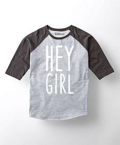 Look what I found on #zulily! Athletic Heather & Black 'Hey Girl' Raglan - Toddler & Boys #zulilyfinds