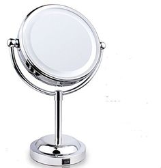 Edeal-YN® Hot Home Decoration Cordless LED Vanity Table / Bathroom 6-inch Tabletop Makeup Mirror & Double-Sided Swivel Magnifying Mirror Chrome plated, http://www.amazon.com/dp/B00SYLBD2G/ref=cm_sw_r_pi_awdm_2j2bwb1TD3ZET