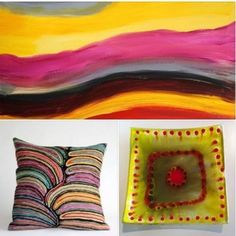 Hopevale Painting  Better World Arts Cushion Aboriginal Glass at Tali Aboriginal Art Gallery