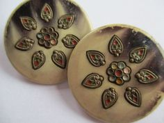 PAIR OF LARGE ANTIQUE CELLULOID & METAL BUTTONS PAINTED BRASS PERFORATE STICK UP noelhumphrey on eBay.co.uk