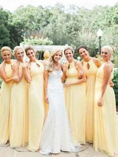 93b8a4914f4 Pretty Light Yellow Halter Long Bridesmaid Dresses