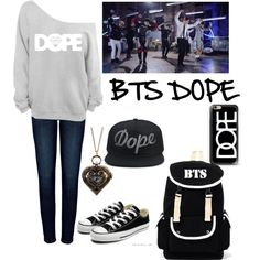 BTS dope by sweetpandayowhat on Polyvore featuring polyvore, fashion, style, Anine Bing, Converse, Casetify and clothing