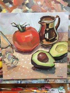 "Daily Paintworks - ""Guac Talk"" - Original Fine Art for Sale - © Teddi Parker Modern Art Paintings, Beautiful Paintings, Academic Drawing, Lotus Flower Art, Canvas Art Projects, Fruit Illustration, Still Life Oil Painting, Fruit Painting, Guache"