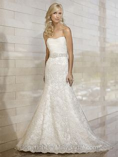 A-line Sweetheart Lace Satin Sweep Train White Beading Wedding Dresses at Millybridal.com