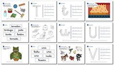 Actividades de lectoescritura para niños de 5 años y primer grado t, u, v, w, x, y, z. Language, Bullet Journal, Education, Reading, Holiday Decor, Kids, Homeschooling, Fine Motor, Home