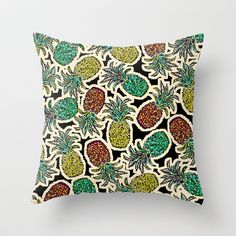 Pineapple Pandemonium Two - Retro Tones Throw Pillow by Lisa Argyropoulos - $20.00