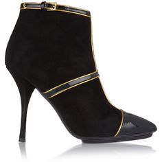 Emilio Pucci Paneled patent-leather and suede ankle boots ($583) ❤ liked on Polyvore featuring shoes, boots, ankle booties, black, black high heel booties, black patent leather booties, black suede booties, black suede ankle booties and black ankle boots