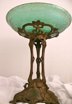Antique Art Nouveau Loetz Spider Web Bronze Centerpiece Stunning Estate Find | eBay