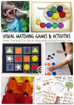 Visual Matching Game and Other Visual Activities from The Kids Co-Op Link Party at SensoryActivitiesforKids.com #kids #spd #sensory #kbn