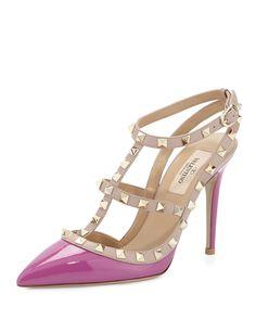 Valentino Rockstud Patent Sandal in Violet