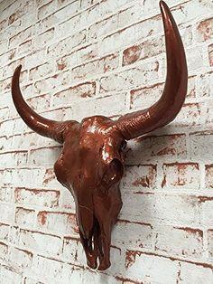 Amazing Wanddeko Wand Figur Stierkopf Skulptur B ffel Kopf Bullenkopf Sch del in Kupfer cm hoch