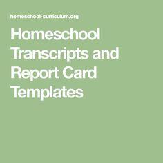 Download Homeschool High School Report Card Template  School