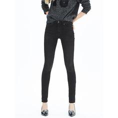 Banana Republic Womens Black High Waist Skinny Jean Size 8 Petite -... ($98) ❤ liked on Polyvore
