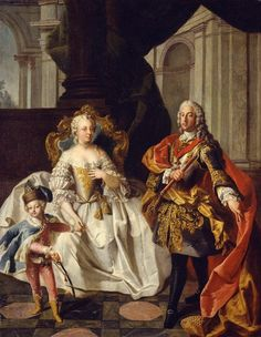 A portrait of Maria Theresa and Francis I with their son, Joseph II by Franz Xaver Karl Palko. 1747.