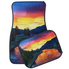 Sunset at Yellowstone Car Mat #carmat #sunsets #caraccessories #yellowstone #river #watercolor #naturelover #blue #orange #pink