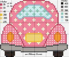 Fusca rosa, menina, ponto cruz, carro rosa