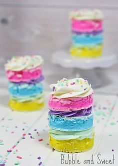 Pastel Rainbow Meringues With White Chocolate Ganache Recipe...these are just beautiful and perfect for Spring. Warning, she says they are very, very sweet! (I would make them a little smaller)  :)