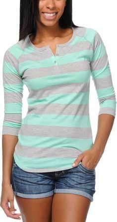ZINE Zine Girls Heather Grey & Ice Green Rugby Stripe Henley Baseball Tee Shirt $19.95 $15 Each for 2 or More