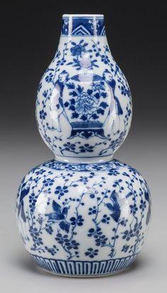 Chinese Blue and White Porcelain Double Gourd Vase. Marks: Kangxi mark
