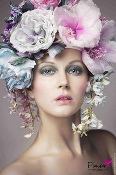 """Цветочная шапка - """"FloWear"""". Цветы из шелка. - розовый, фиолетовый, голубой, аметистовый, цветочная шапка"""