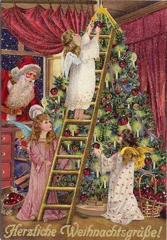 antique vintage post card christmas printable picture decor