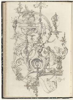 Bladrank met objecten en figuren, anonymous, c. 1866 - c. 1900