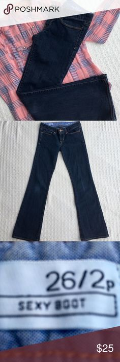 GAP SEXY BOOTCUT DARK WASH JEANS SIZE 26/2P 🌺...LIKE BRAND NEW...GAP SEXY BOOT CUT DARK WASH 1969 JEANS SIZE 26/2P.  Sexy Boot is low rise, slim in the hip and thigh with a boot cut leg opening.  99% cotton and 1% elastase.  Details:  machine wash cold, tumble dry low.  PERFECT CONDITION!  Stored in a smoke free home.  ***BUNDLE ANY 3 ITEMS AND SAVE AN ADDITIONAL 15% OFF*** Gap Jeans Boot Cut