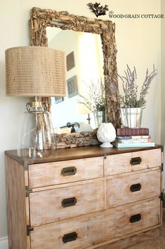 Whitewashed Dresser Makeover by The Wood Grain Cottage