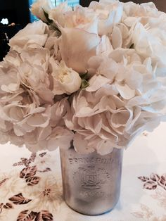 Simple elegant centre pieces used for a silver anniversary