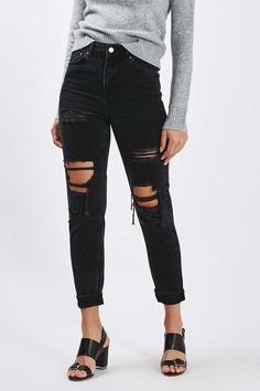 MOTO Washed Black Super Rip Mom Jeans - Jeans - Clothing - Topshop USA