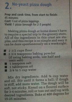 No yeast pizza dough. May No yeast pizza dough-so I used this base recipe and used garbonzo bean flour, omitted the baking powder and salt, used No Yeast Pizza Dough, Making Pizza Dough, Pizza Crust Without Yeast, Easy Pizza Dough Recipe, Yeast Bread, Crust Recipe, Bread Baking, Pizza Recipes, Cooking Recipes