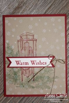 Sled Christmas Card made using Stampin' Up! Winter Wishes stamp set and the triple banner punch