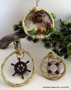 Nautical Rope Oraments Set of 3 - Coastal Christmas Decor