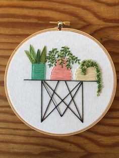 succulents in pots on wire table embroidery , hoop art , nature art , cactus wall art
