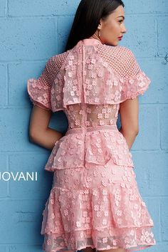 Jovani - Floral Applique Layered A-line Cocktail Dress