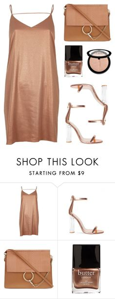 """""""Metallic"""" by baludna ❤ liked on Polyvore featuring River Island, Chloé, Butter London and Sephora Collection"""