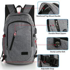 e23daf8dae361c Amazon.com  Mochila de negocios para laptop antirobo con puerto de USB que  se