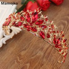 Mamojko Baroque Luxury Red Crystal Bridal CrownFor Women Fashion New Wedding Tiaras Bride Hair Dress Accessories Jewelry(China)
