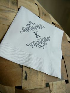 Personalized White Wedding Cocktail Napkins with Large Couples Initial and Princess Wrought Iron Fence Filigrees - Set of 50. $15.00, via Etsy.