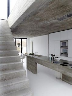 kitchen and staircase and ceiling and floor and.... #concrete formed staircase #thingsOfBeauty